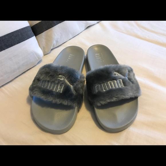 size 40 4f99b 2b984 Gray FENTY Puma Fur women's slide sandals